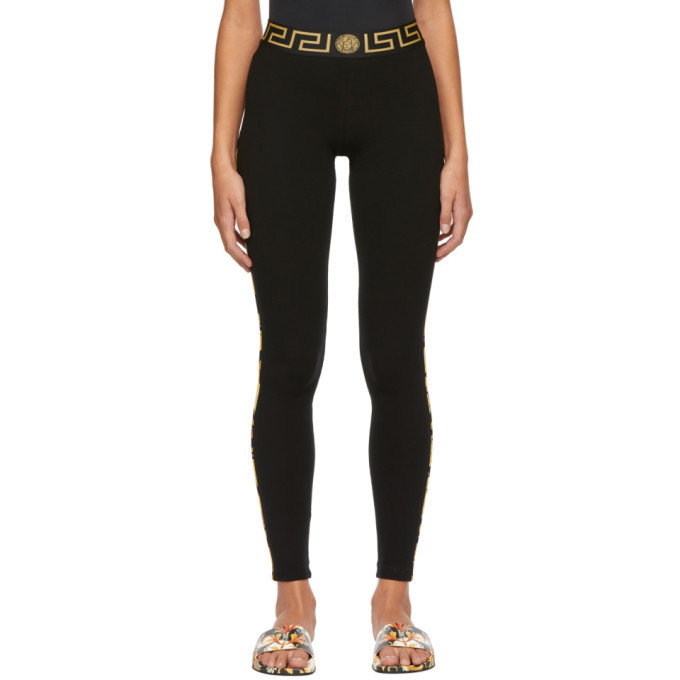 Versace Underwear Black Greek Key Basic Leggings in nero