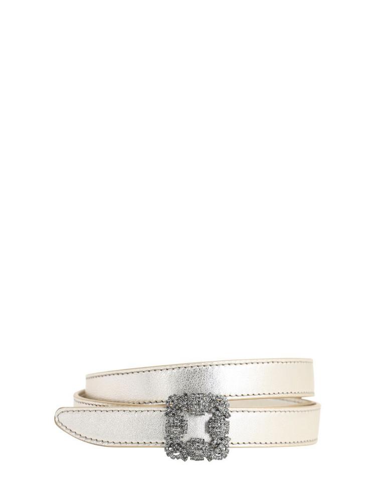 MANOLO BLAHNIK 20mm Hangisi Metallic Leather Belt in gold