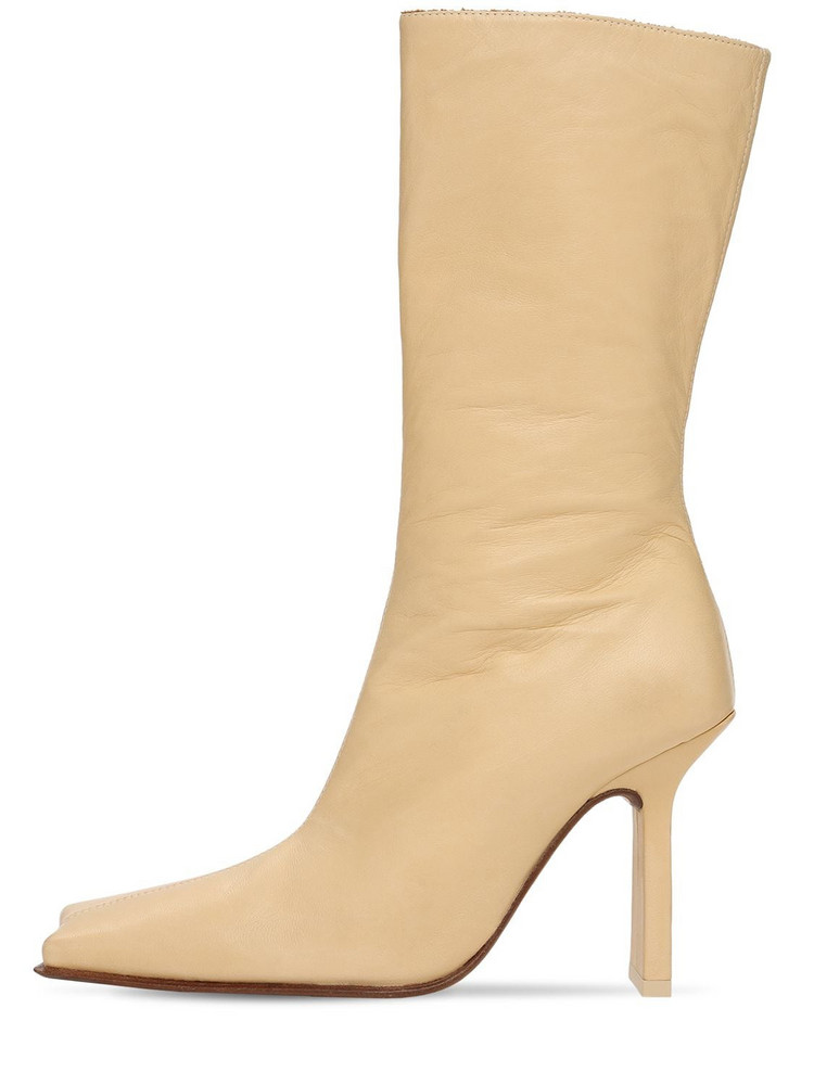 MIISTA 90mm Noor Leather Boots in beige