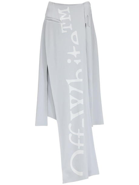 OFF-WHITE Crepe Midi Skirt W/ Front Panel in grey