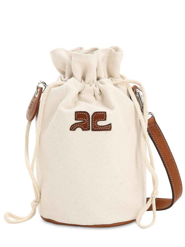 COURRÈGES Mini Iconic Cotton Canvas Shoulder Bag in white
