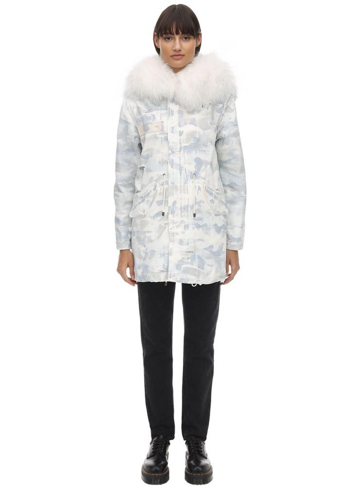 MR & MRS ITALY Reversible Denim Down Jacket W/ Fur in white