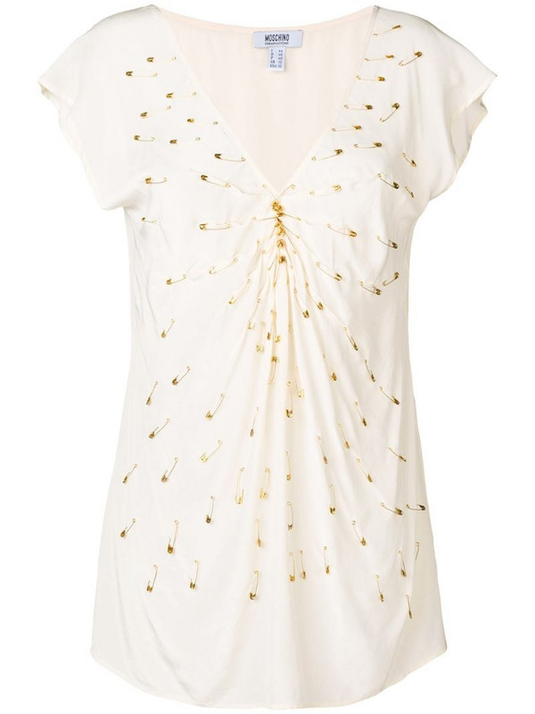 Moschino Pre-Owned 2000's pin embellished blouse in neutrals
