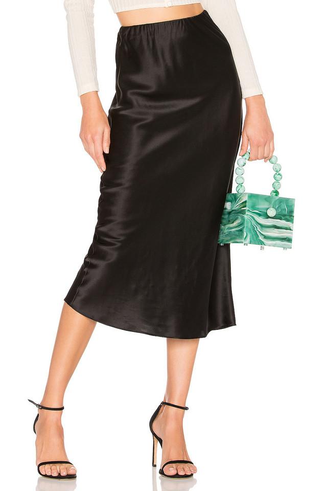 Olivia von Halle Isla Silk Midi Skirt in black