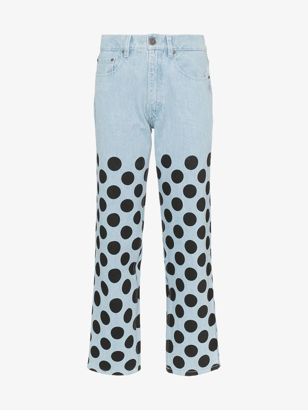 HOUSE OF HOLLAND Polka Dot Printed Straight Leg Jeans in blue