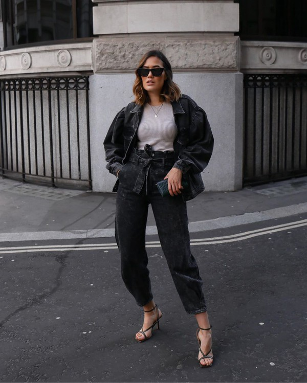 jeans black jeans high waisted jeans black sandals oversized jacket sweater