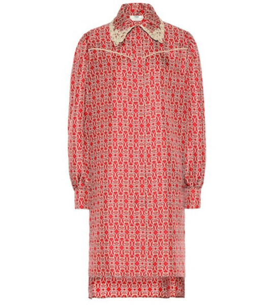 Fendi Printed silk-twill shirt dress in red