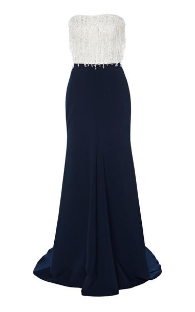 Jenny Packham Fringe-Embellished Two-Tone Satin Dress Size: 6 in multi
