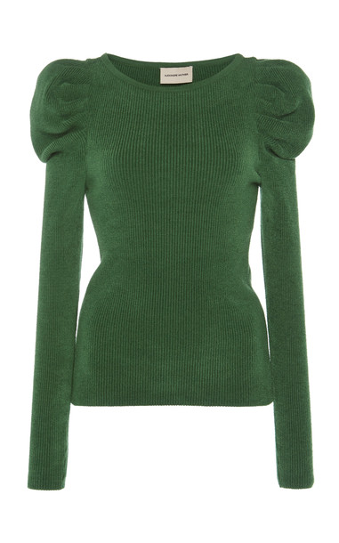 Alexandre Vauthier Puffed Shoulders Ribbed-Knit Top in green