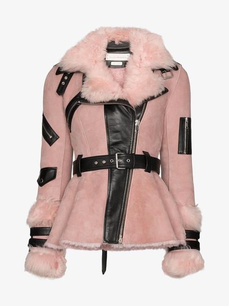 Alexander McQueen belted shearling jacket in pink