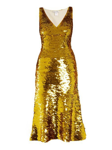 Oscar De La Renta - V Neck Sequin Embellished Silk Blend Dress - Womens - Gold
