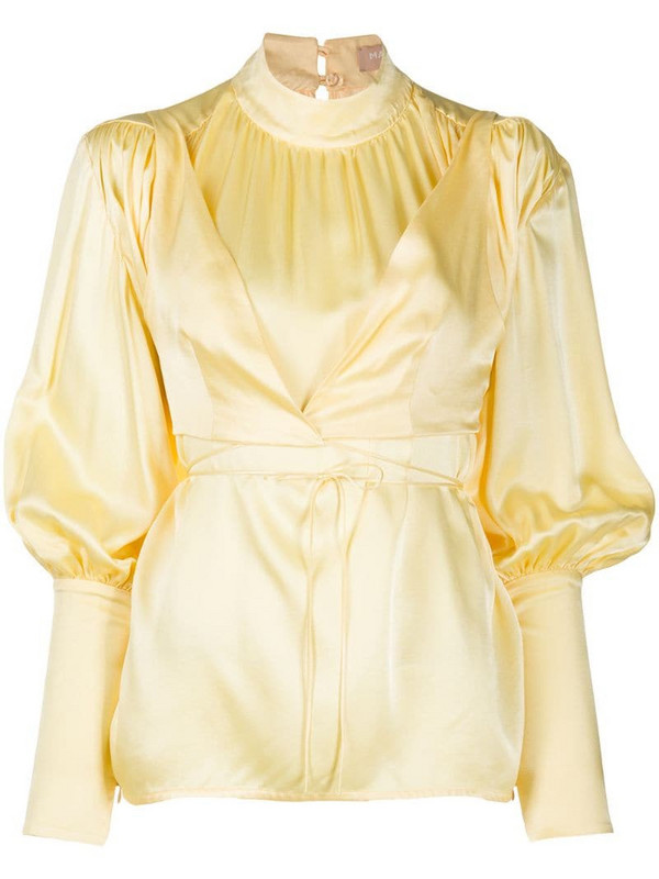 Materiel mock neck bell sleeve blouse in yellow