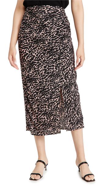 re:named re: named Mica Animal Wrap Maxi Skirt in black / rose