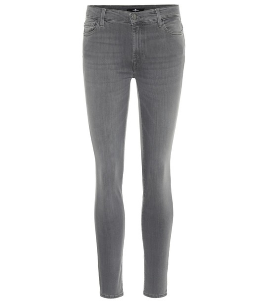 7 For All Mankind The Skinny high-rise jeans in grey