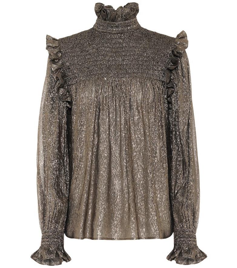 Saint Laurent Silk-blend chiffon blouse in gold