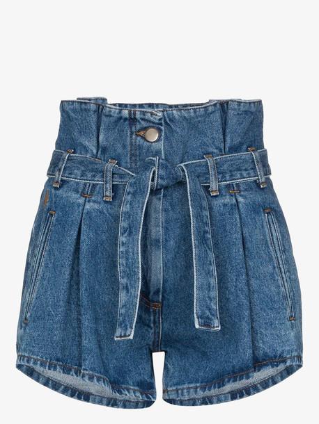 Attico belted paper bag denim shorts