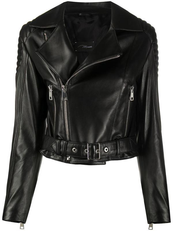 Manokhi London cropped biker jacket in black