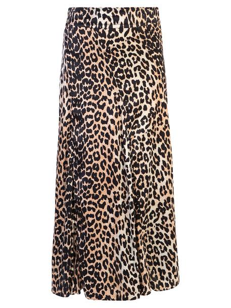 Ganni Leopard Print Silk Dress