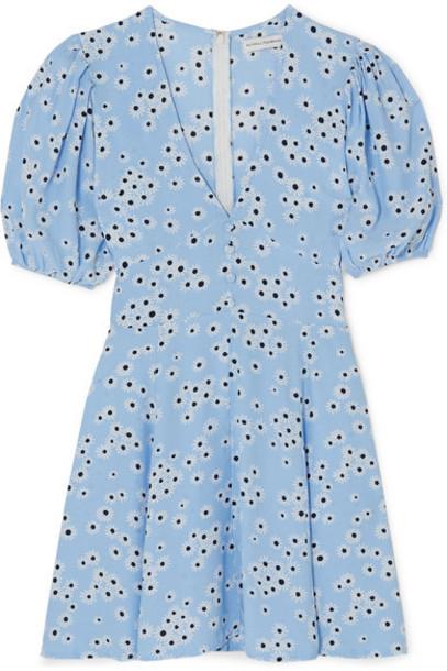 Faithfull The Brand - Ilia Floral-print Crepe Mini Dress - Light blue
