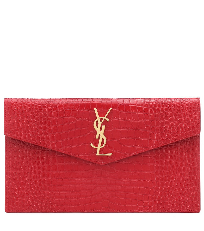 Saint Laurent Uptown croc-effect leather clutch in red