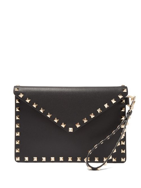 Valentino - Rockstud Embellished Leather Pouch Bag - Womens - Black