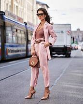 pants,high waisted pants,pleated,pink pants,pumps,pink blazer,brown bag,bodysuit,belt