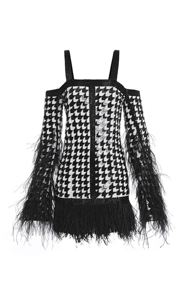 Balmain Sequined Feather-Trim Houndstooth Silk Dress in black / white