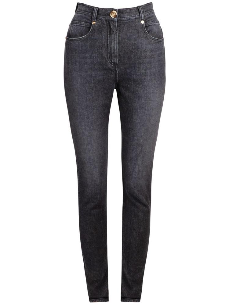 BALMAIN Stretch Cotton Denim Jeans W/ Logo in black