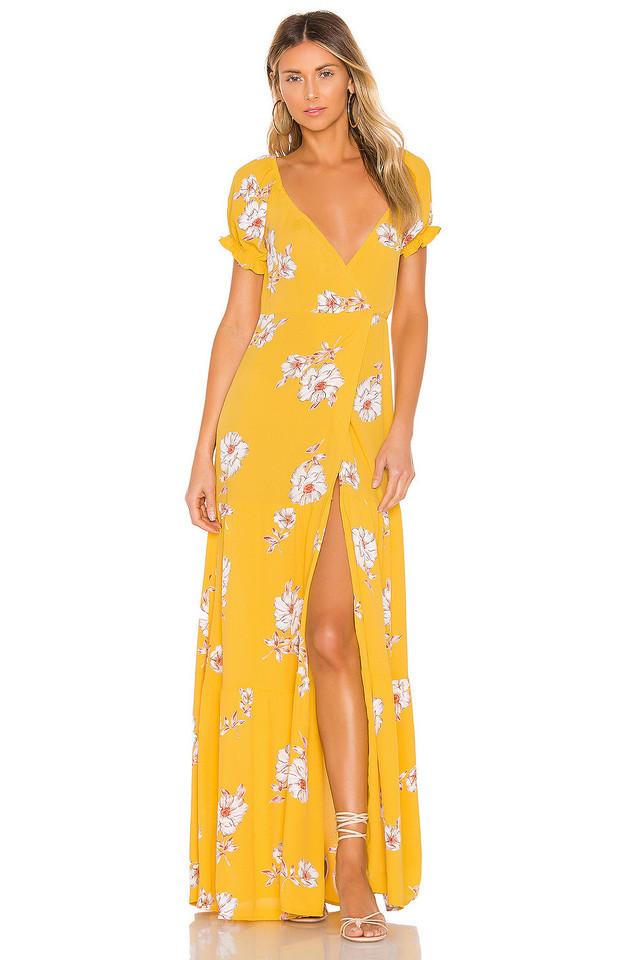 FLYNN SKYE Annabelle Wrap Maxi Dress in yellow