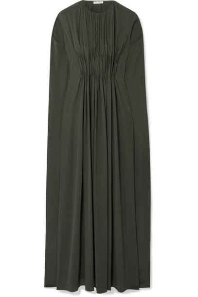 The Row - Antonia Cape-effect Embellished Pleated Silk-crepe Gown - Army green