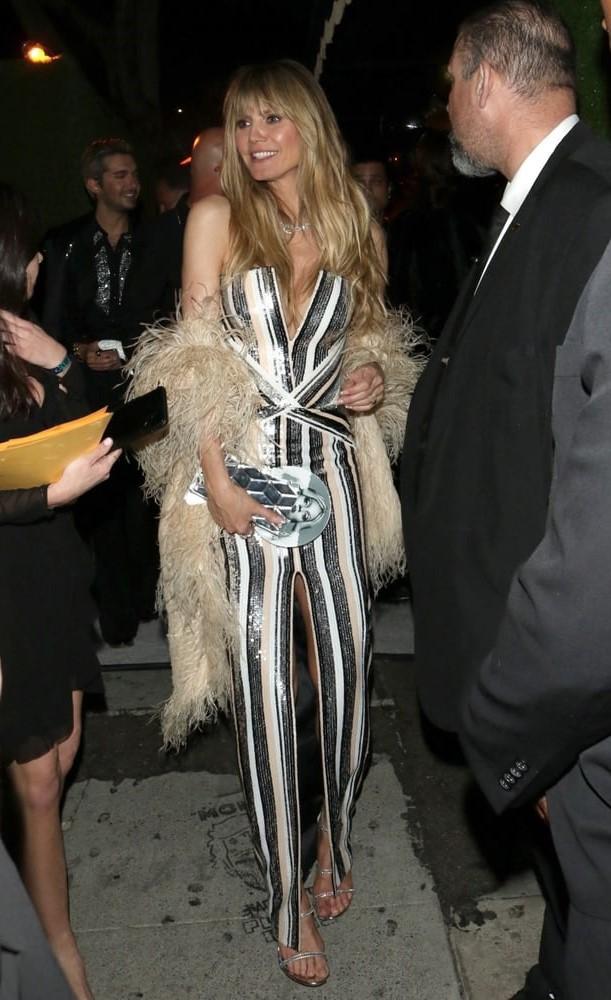 dress black and white stripes striped dress heidi klum celebrity sequins sequin dress