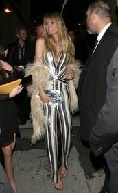 dress,black and white,stripes,striped dress,heidi klum,celebrity,sequins,sequin dress
