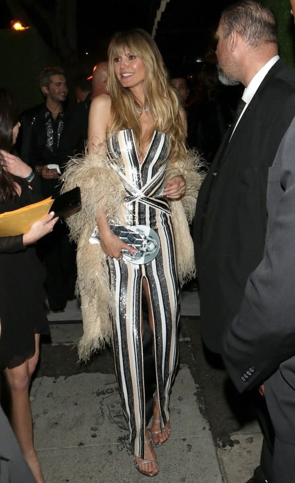 dress black and white stripes striped dress heidi klum celebrity sequins sequin dress