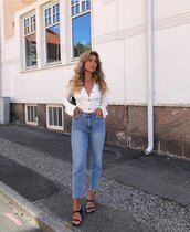 jeans,high waisted jeans,straight jeans,black sandals,white top