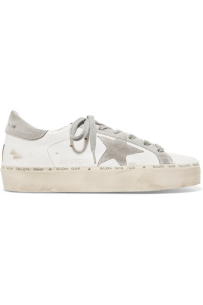 Golden Goose Deluxe Brand - Hi Star Distressed Leather And Suede Sneakers - White