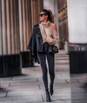 sweater,turtleneck sweater,ankle boots,black boots,skinny jeans,black bag,black leather jacket