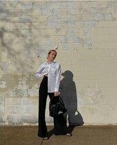 pants,black pants,wide-leg pants,white shirt,black sandals,black bag