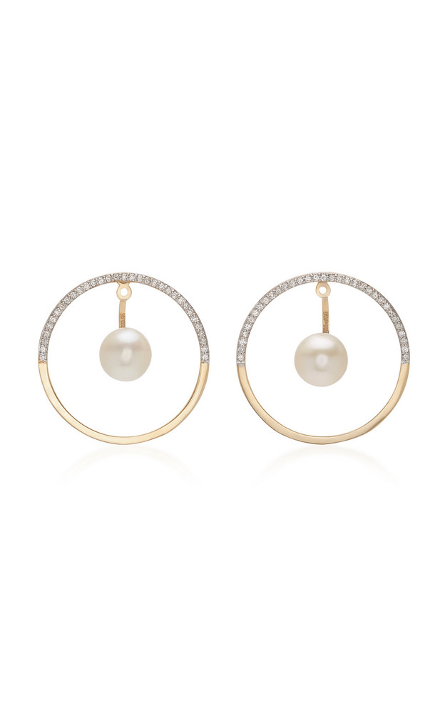 Mateo Half Moon Floating Pearl Hoop Earrings in gold