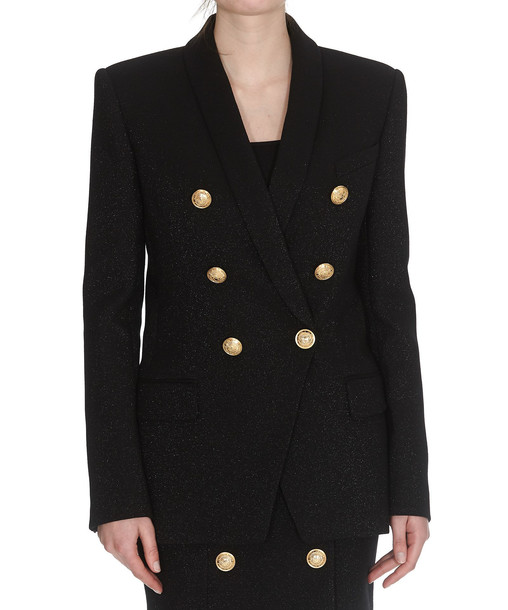 Balmain Double Breasted 6 Buttons Blazer in black