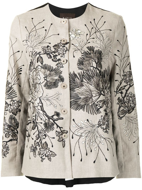 Biyan floral embroidered jacket in neutrals