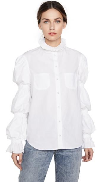 pushBUTTON Sausage Sleeved Minimal Shirt in white