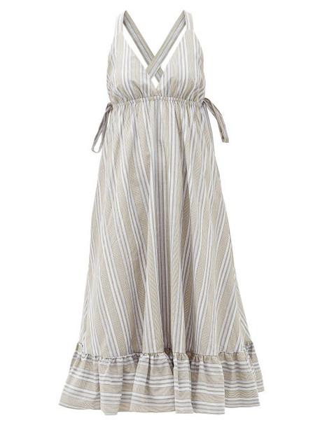 Loup Charmant - Amalfi Cross-back Striped Cotton Dress - Womens - Beige Stripe