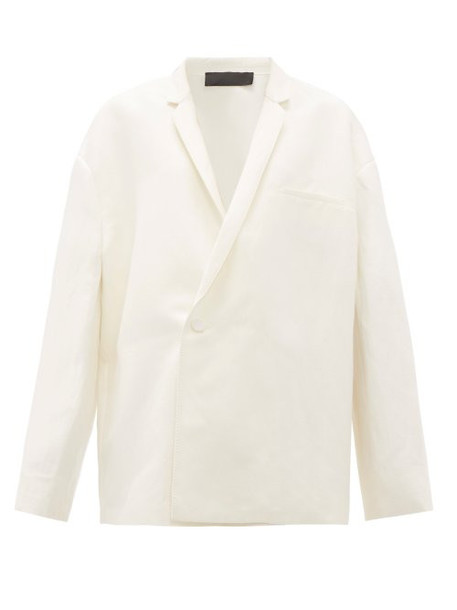 Haider Ackermann - Pyjama Double Breasted Linen Blend Blazer - Womens - Ivory
