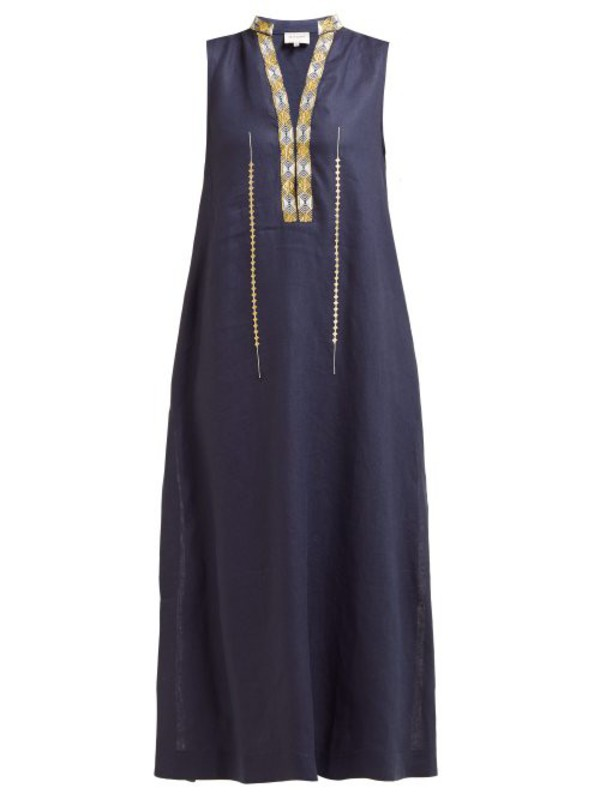 Zeus + Dione Zeus + Dione - Persephone Embroidered Linen Midi Dress - Womens - Navy