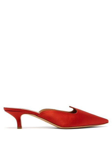 Le Monde Beryl - Pointed Vamp Satin Mules - Womens - Red