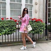 dress,pink dress,mini dress,long sleeve dress,sneakers,chanel