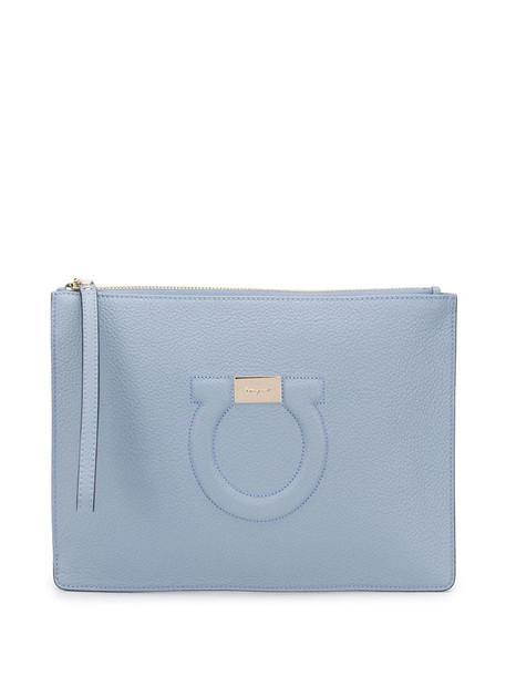Salvatore Ferragamo debossed-Gancini clutch bag in blue
