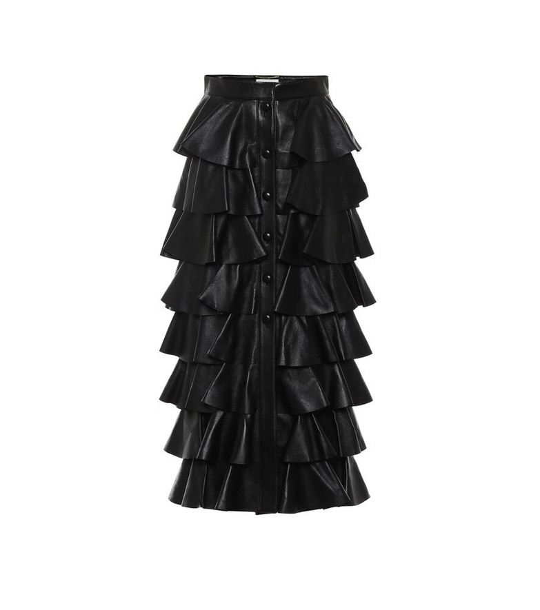 Saint Laurent Tiered leather skirt in black