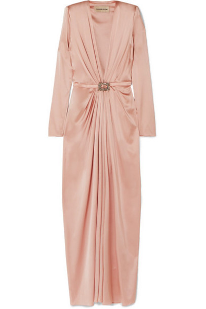 Alexandre Vauthier - Embellished Draped Silk-blend Satin Gown - Blush