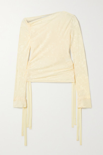 The Line By K - Kace Off-the-shoulder Ruched Satin-jacquard Top - Cream